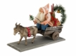 Christmas Cart with Donkey Paper Mache Figurine by Marolin
