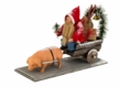 Christmas Cart with Lucky Pig Paper Mache Figurine by Marolin