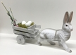 Easter Cart with White Rabbit Paper Mache Candy Container by Marolin