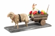 Easter Cart with Sheep and Rabbit Paper Mache Figurine by Marolin