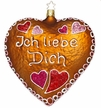 Ich Liebe Dich, Gingerbread Heart Ornament by Inge Glas