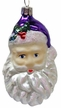 Small Santa Head with Purple Hat Ornament by Hausdörfer Glas Manufaktur