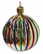Medium Gold Striped Ball Ornament by Hausdörfer Glas Manufaktur