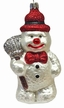 Snowman with Broom & Red Glitter Ornament by Hausdörfer Glas Manufaktur
