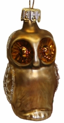Mini Brown Owl Ornament by Hausdörfer Glas Manufaktur