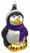 Penguin with Purple Scarf Ornament by Hausdörfer Glas Manufaktur