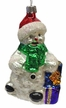 White Snowman with Presents Ornament by Hausdörfer Glas Manufaktur