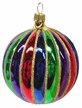 Ball with Grooves and Gold Glitter Ornament by Hausdörfer Glas Manufaktur