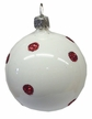 Ball, White, Shiny with Red Glitter Ornament by Hausdörfer Glas Manufaktur