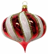 Red & White Onion Shape Ornament by Hausdörfer Glas Manufaktur