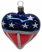 RWB Heart, Patriotic Ornament by Hausdörfer Glas Manufaktur