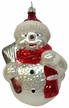 Snowman with Broom & Red Scarf Ornament by Hausdörfer Glas Manufaktur