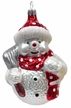 Snowman with Broom & Scarf, Red with White Points Ornament by Hausdörfer Glas Manufaktur