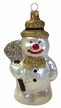 Glass Snowman with Broom and Gold Glitter Ornament by Hausdörfer Glas Manufaktur