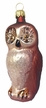 Glass Owl, Champagne & Brown Ornament by Hausdörfer Glas Manufaktur