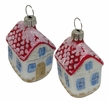 House, Small with Windows & Red Roof Ornament by Hausdörfer Glas Manufaktur