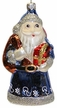 Flat Blue Santa with Iridescent Ornament by Hausdörfer Glas Manufaktur