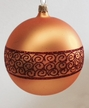 10cm Gold Matte Ball with Snake Ribbon Design Ornament by Hausdörfer Glas Manufaktur