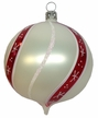 Onion Shaped White with Red Stripes Ornament by Hausdörfer Glas Manufaktur