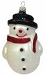 Snowman with Snowflakes and Black Hat Ornament by Hausdörfer Glas Manufaktur