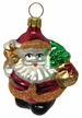 Small Santa, Red & Gold with Copper Glitter Ornament by Hausdörfer Glas Manufaktur