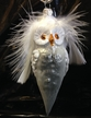 Grey Owl with Feathers Ornament by Hausdörfer Glas Manufaktur