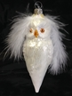 White Owl with Feather Ornament by Hausdörfer Glas Manufaktur
