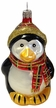 Penguin with Plaid Scarf Ornament by Hausd�rfer Glas Manufaktur