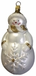 Snowman with Gold Glitter & Snowflake Ornament by Hausdörfer Glas Manufaktur