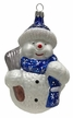 Snowman with Broom & Scarf, Blue Ornament by Hausdörfer Glas Manufaktur