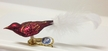 Mini Bird with Feather Tail, Bordeaux Ornament by Glas-Bartholmes
