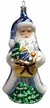 Blue Santa with Gifts Ornament by Glas-Bartholmes