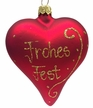 """Red """"Frohes Fest"""" Heart Ornament by Glas-Bartholmes"""