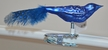 Mini Blue Guinea Fowl with Feather Tail Ornament by Glas-Bartholmes