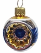 Mini Blue & Gold Reflector Ornament by Glas-Bartholmes