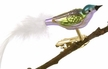 Mini Bird with Feather Tail, Violet & Turquoise Ornament by Glas-Bartholmes