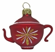 Small Teapot, Flower, Red Ornament by Glas-Bartholmes