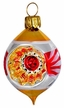 Ovoid with Puncture, Red & Gold Ornament by Glas-Bartholmes