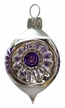 Ovoid with Puncture, Purple & White Ornament by Glas-Bartholmes