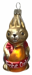 "Easter Bunny ""Gustav"" with Egg Ornament by Glas-Bartholmes"