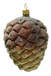 Large Pinecone, Green & Brown Ornament by Glas-Bartholmes