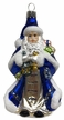 Santa with Lantern, Matte Blue Ornament by Glas-Bartholmes