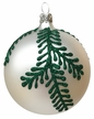 Ball, Green Fir Branch, White Ornament by Glas-Bartholmes