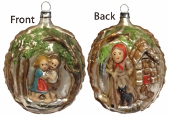 Two Sided Kugle with Hansel, Gretel & Witch Ornament made by Richard Mahr GmbH (Marolin) in Steinach