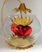 Double Red Heart with Gold Flames Ornament by Resl Lenz in Bodenkirchen
