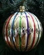 Large Striped Ball Ornament by Hausdörfer Glas Manufaktur
