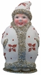 Mrs. Santa in White Coat with Red Snowflakes Paper Mache Candy Container by Ino Schaller