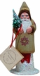 Mustard with Red Stars Santa Paper Mache Candy Container by Ino Schaller