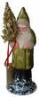Olive Green with Gold Stars Santa Paper Mache Candy Container by Ino Schaller