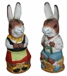 One of a Kind Bunny Pair Paper Mache Candy Container Two Piece Set by Werner Brauer in Hannover
